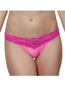 Women's Low Rise Thong Panty Micro Lace Rhinestone Purple Pink