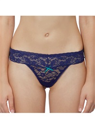 Sexy Allure Lace Thong Panty Shining Rhinestone Dark Blue