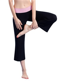 Women's Sporty Yoga Pant Long Roll Modal Black