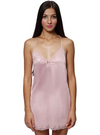 Silky Smooth Satin Sexy Lace Night Dress Wireless Ultra Soft Lingerie Romantic Silver Pink