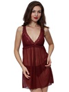Wireless Sexy Mesh Night Dress Burgundy Soft Romantic Angel Lace